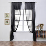 "Pack of 2 | 52""x108"" Black Sheer Organza Curtains With Rod Pocket Window Treatment Panels"