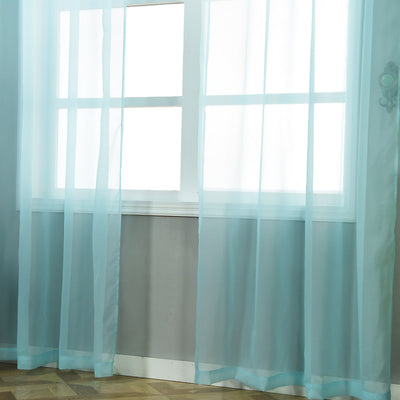 "Pack of 2 | 52""x108"" Baby Blue Sheer Organza Curtains With Rod Pocket Window Treatment Panels"