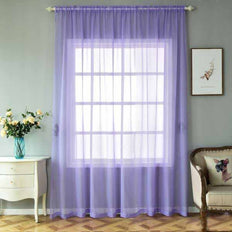 "Pack of 2 | 52""x108"" Lavender Sheer Organza Curtains With Rod Pocket Window Treatment Panels"
