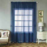 "Pack of 2 | 52""x108"" Navy Blue Sheer Organza Curtains With Rod Pocket Window Treatment Panels"