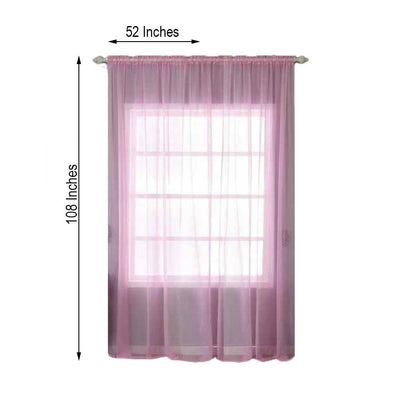 "Pack of 2 | 52""x108"" Pink Sheer Organza Curtains With Rod Pocket Window Treatment Panels"
