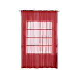 "Pack of 2 | 52""x108"" Red Sheer Organza Curtains With Rod Pocket Window Treatment Panels"