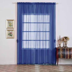 "Pack of 2 | 52""x108"" Royal Blue Sheer Organza Curtains With Rod Pocket Window Treatment Panels"