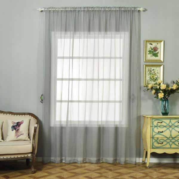 "Pack of 2 | 52""x108"" Silver Sheer Organza Curtains With Rod Pocket Window Treatment Panels"