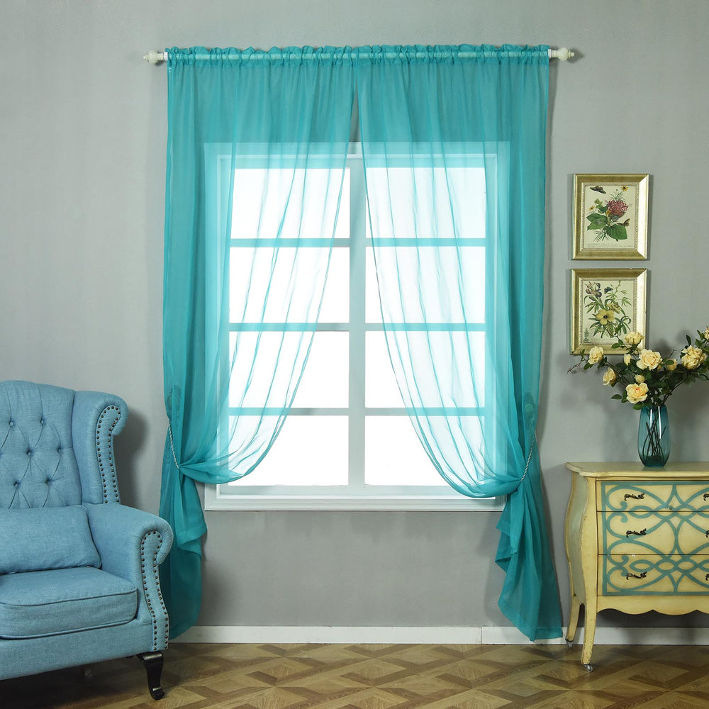 """52""""x 108"""" Turquoise Pack Of 2 Sheer Organza With Rod"""