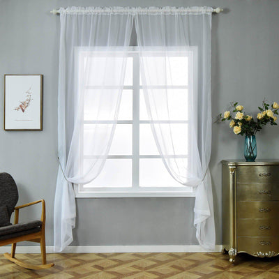 "Pack of 2 | 52""x108"" Turquoise Sheer Organza Curtains With Rod Pocket Window Treatment Panels"