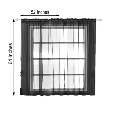 "Pack of 2 | 52""x64"" Black Sheer Organza Curtains With Rod Pocket Window Treatment Panels"