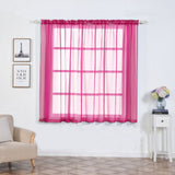 "Pack of 2 | 52""x64"" Fushia Sheer Organza Curtains With Rod Pocket Window Treatment Panels - Clearance SALE"
