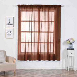 "Pack of 2 | 52""x84"" Chocolate Sheer Organza Curtains With Rod Pocket Window Treatment Panels"