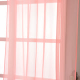 "2 Pack | 52""x84"" Rose Quartz Sheer Organza Curtains With Rod Pocket Window Treatment Panels"