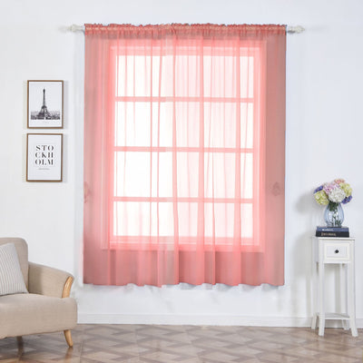 "Pack of 2 | 52""x84"" Rose Quartz Sheer Organza Curtains With Rod Pocket Window Treatment Panels"