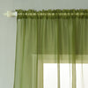 "2 Pack | 52""x84"" Sage Green Sheer Organza Curtains With Rod Pocket Window Treatment Panels"