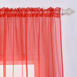 "Pack of 2 | 52""x84"" Coral Sheer Organza Curtains With Rod Pocket Window Treatment Panels"