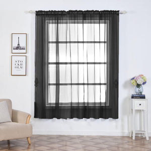 "2 Pack | 52""x84"" Black Sheer Organza Curtains With Rod Pocket Window Treatment Panels"