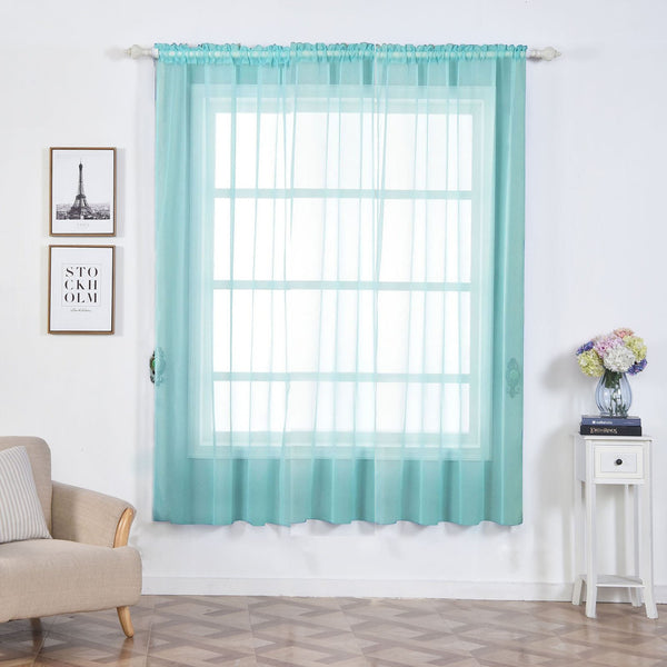 "Pack of 2 | 52""x84"" Baby Blue Sheer Organza Curtains With Rod Pocket Window Treatment Panels - Clearance SALE"