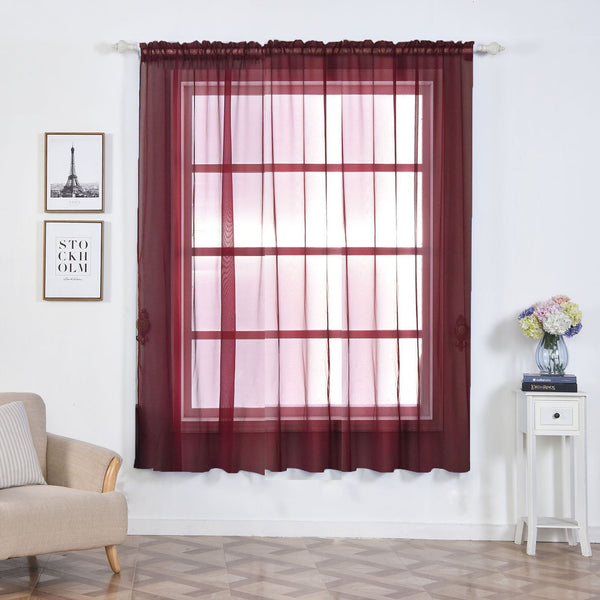 "Pack of 2 | 52""x84"" Burgundy Sheer Organza Curtains With Rod Pocket Window Treatment Panels - Clearance SALE"