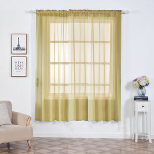 "2 Pack | 52""x84"" Champagne Sheer Organza Curtains With Rod Pocket Window Treatment Panels"