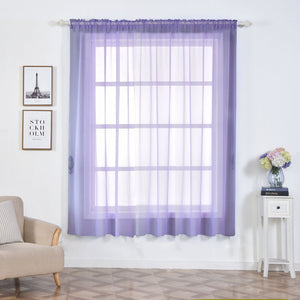 "Pack of 2 | 52""x84"" Lavender Sheer Organza Curtains With Rod Pocket Window Treatment Panels"