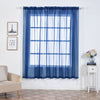 "2 Pack | 52""x84"" Navy Blue Sheer Organza Curtains With Rod Pocket Window Treatment Panels"