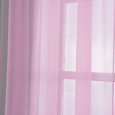 "Pack of 2 | 52""x84"" Pink Sheer Organza Curtains With Rod Pocket Window Treatment Panels"