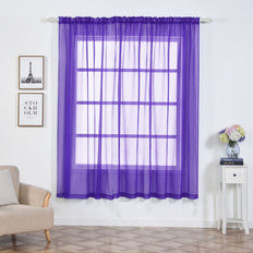 "Pack of 2 | 52""x84"" Purple Sheer Organza Curtains With Rod Pocket Window Treatment Panels - Clearance SALE"