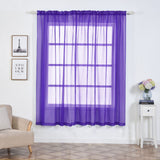 "2 Pack | 52""x84"" Purple Sheer Organza Curtains With Rod Pocket Window Treatment Panels"