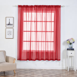 "Pack of 2 | 52""x84"" Red Sheer Organza Curtains With Rod Pocket Window Treatment Panels"
