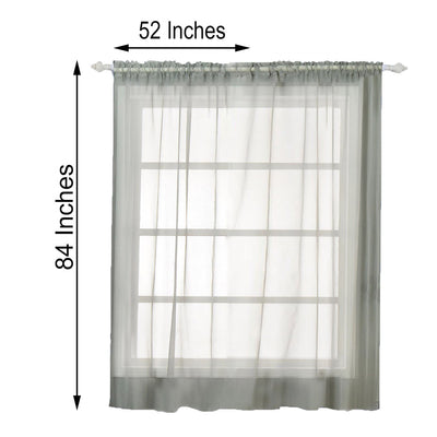 "Pack of 2 | 52""x84"" Silver Sheer Organza Curtains With Rod Pocket Window Treatment Panels"