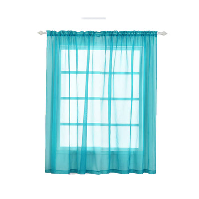 "2 Pack | 52""x84"" Turquoise Sheer Organza Curtains With Rod Pocket Window Treatment Panels"