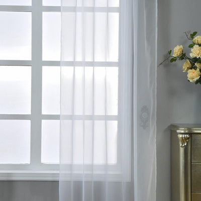 "2 Pack | 52""x84"" White Sheer Organza Curtains With Rod Pocket Window Treatment Panels"