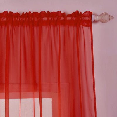 "2 Pack | 52""x84"" Red Sheer Organza Curtains With Rod Pocket Window Treatment Panels"