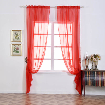 "Pack of 2 | 52""x96"" Coral Sheer Organza Curtains With Rod Pocket Window Treatment Panels"