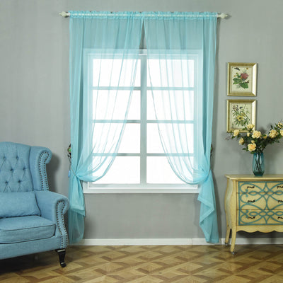 "Pack of 2 | 52""x96"" Baby Blue Sheer Organza Curtains With Rod Pocket Window Treatment Panels"