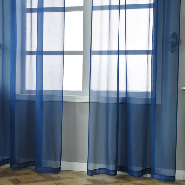"""52""""x96"""" Navy Blue Sheer Organza Curtains With Rod"""