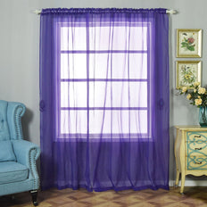 "Pack of 2 | 52""x96"" Purple Sheer Organza Curtains With Rod Pocket Window Treatment Panels"