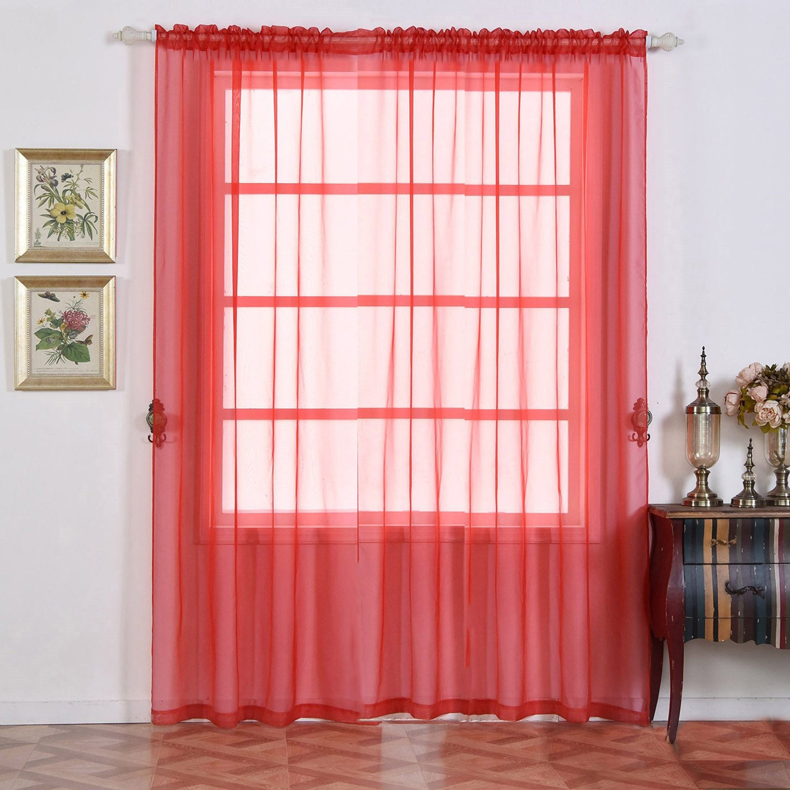 2 pack 52x96 red sheer organza curtains with rod pocket window treatment panels