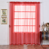 "Pack of 2 | 52""x96"" Red Sheer Organza Curtains With Rod Pocket Window Treatment Panels"