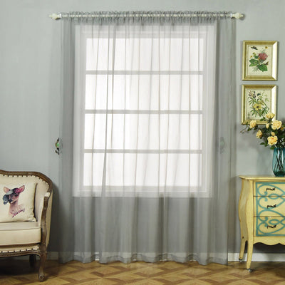 "Pack of 2 | 52""x96"" Silver Sheer Organza Curtains With Rod Pocket Window Treatment Panels"