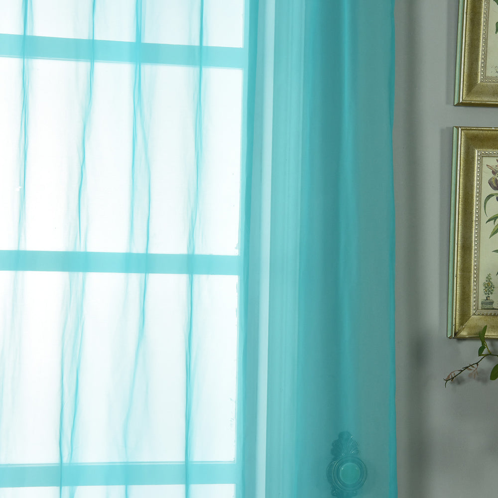 2 Pack 52 Quot X96 Quot Turquoise Sheer Organza Curtains With Rod