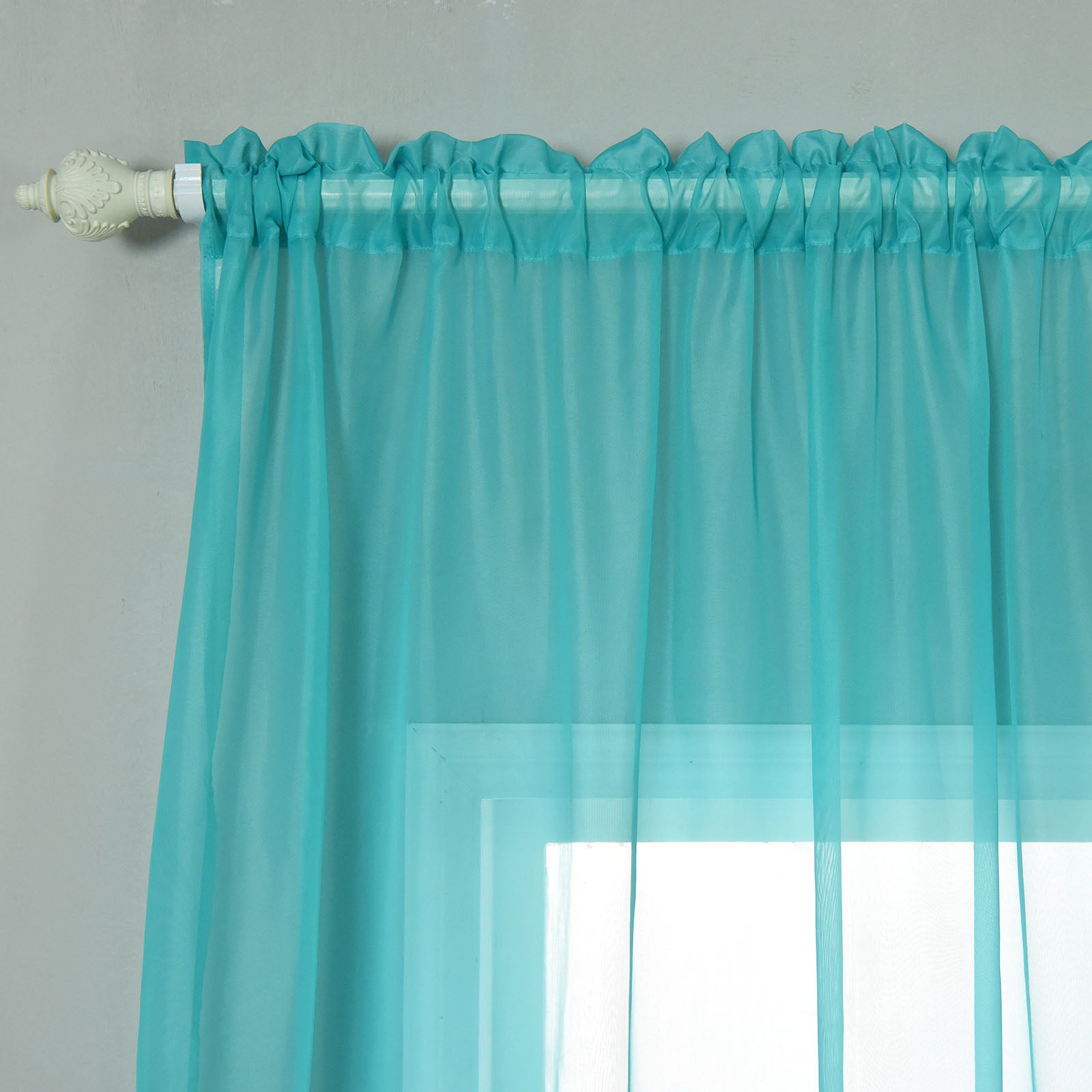 "52""x96"" Turquoise Sheer Organza Curtains With Rod"
