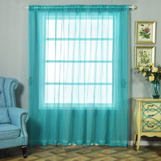 "Pack of 2 | 52""x96"" Turquoise Sheer Organza Curtains With Rod Pocket Window Treatment Panels"