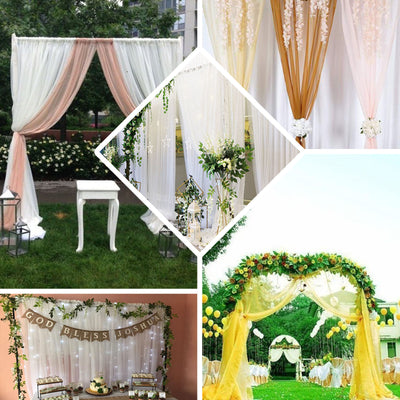 "Pack of 2 | 52""x108"" White Sheer Organza Curtains With Rod Pocket Window Treatment Panels"
