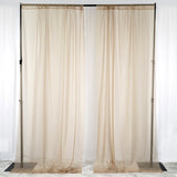 Pack of 2 | 5FTx10FT Natural Fire Retardant Sheer Organza Premium Curtain Panel Backdrops With Rod Pockets