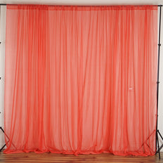 10FT Fire Retardant Coral Sheer Voil Curtain Panel Backdrop - Premium Collection