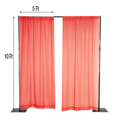 Pack of 2 | 5FTx10FT Coral Fire Retardant Sheer Organza Premium Curtain Panel Backdrops With Rod Pockets - Clearance SALE