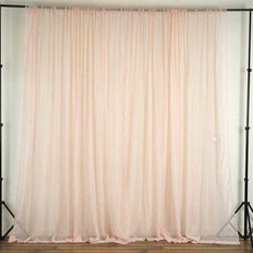 Set Of 2 Blush Fire Retardant Sheer Organza Premium Curtain Panel Backdrops With Rod Pockets - 5FTx10FT