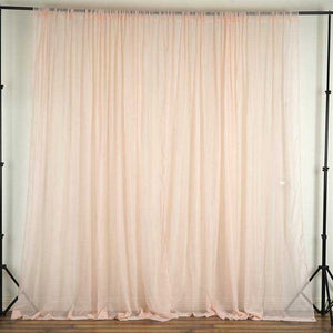 2 Pack | 5FTx10FT Blush | Rose Gold Fire Retardant Sheer Organza Premium Curtain Panel Backdrops With Rod Pockets