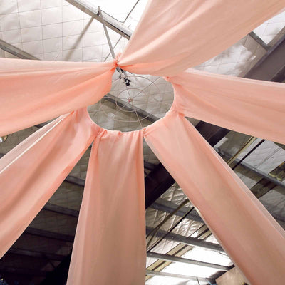 "30Ft Blush | Rose Gold Ceiling Drapes Sheer Curtain Panels Fire Retardant Fabric With 4"" Pocket"