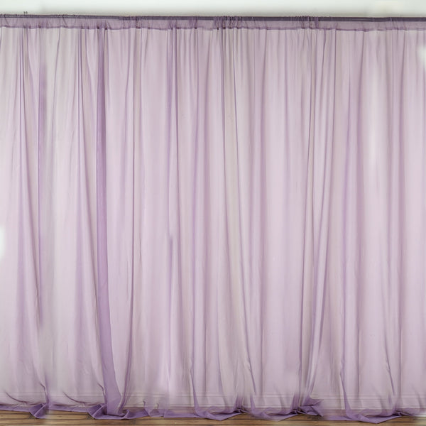 Pack of 2 | 5FTx10FT Violet Amethyst Fire Retardant Sheer Organza Premium Curtain Panel Backdrops With Rod Pockets