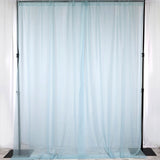 Pack of 2 | 5FTx10FT Ice Blue Fire Retardant Sheer Organza Premium Curtain Panel Backdrops With Rod Pockets